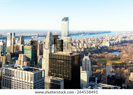 A rooftop view the west side of Central Park on the island of Manhattan in New York City. - stock photo
