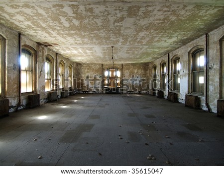 A room waiting for renovation at historic Ellis Island National Park in New York. - stock photo