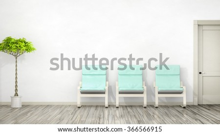 A room with three chairs and space for your content - stock photo