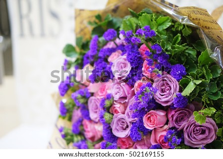 A rose bouquet (pink roses, purple rose) - flower design, flower decoration - a special gift for women's day, birthday occasion, wedding anniversary