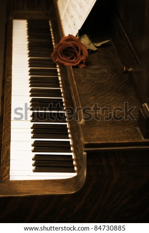 A rose rests on a piano with sheet music. - stock photo