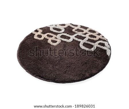 a round brown carpet isolated on white background - stock photo