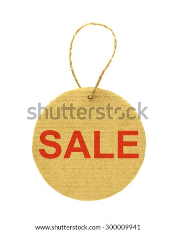 A round cardboard sale tag with string isolated on white - stock photo