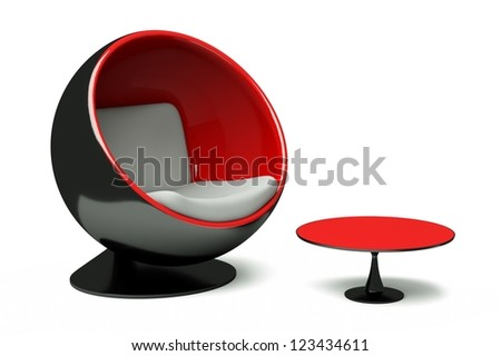 a round chair with table isolated on white - stock photo