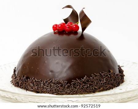 a round chocolate cake with a redcurrant twig on top - stock photo