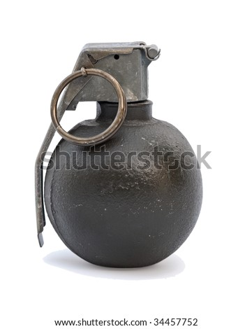 A round green grenade shot on a white background.