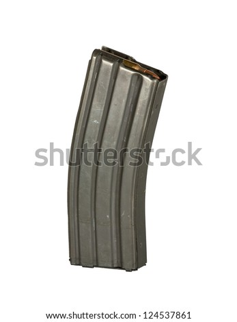 A 30 round high capacity magazine for an AR-15 and AR-16 assault rifle loaded with 5.56 mm ammunition. - stock photo