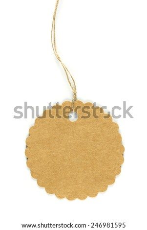 A round paper tag with string isolated on white - stock photo
