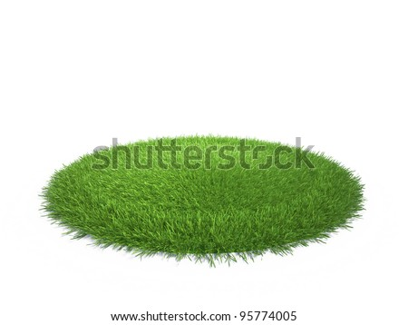 a round piece of cropped grass to be installed - stock photo