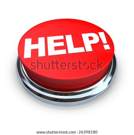 A round, red button on a white background reading Help - stock photo