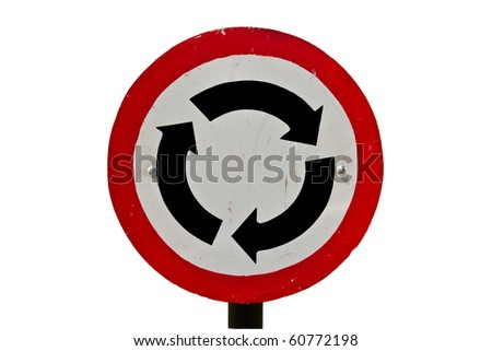 A roundabout sign isolate on white background - stock photo