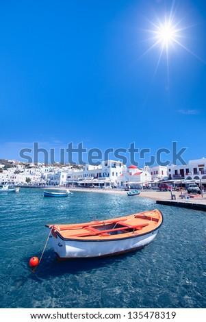 A row boat in Mykonos, Greece - stock photo