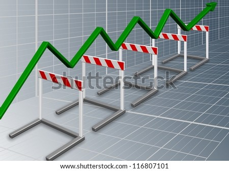 A row of barriers with a green chart arrow going over them / Business barriers - stock photo
