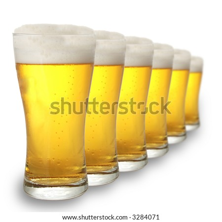 A row of beer pints - stock photo
