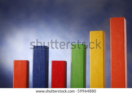 A row of blocks,forming a graph. - stock photo
