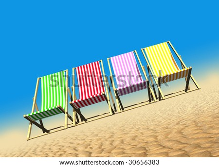 A row of bright colored deck chairs on the sand against a plain bright blue tropical sky with room to drop in text - stock photo