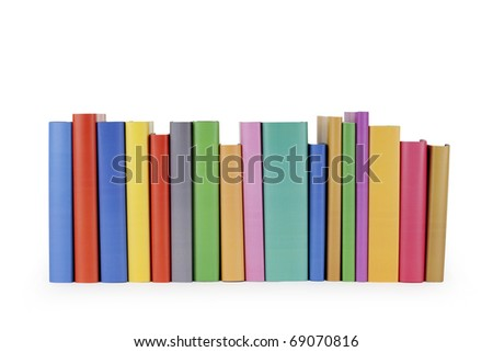 A row of brightly colored books on white background.