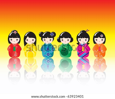 A row of brightly coloured Kokeshi dolls with reflections. Also available in vector format