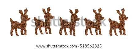 A row of brown glitter reindeer stickers isolated on a white background.