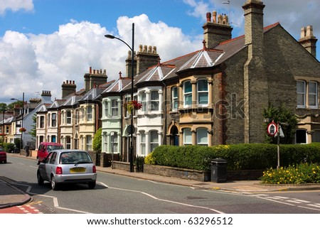 A row of characteristic English cottages in Cambridge, UK - stock photo