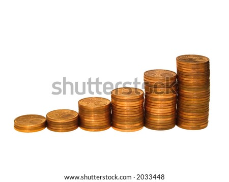 A row of coin stacks representing increase of profit, turnover, etc.