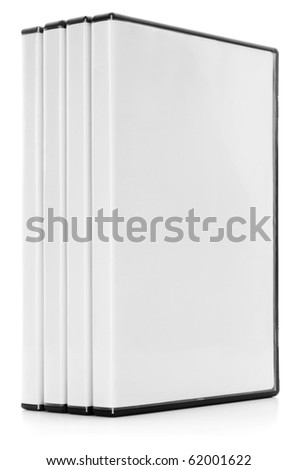 A row of DVD or CD cases isolated on white with a clipping path - stock photo