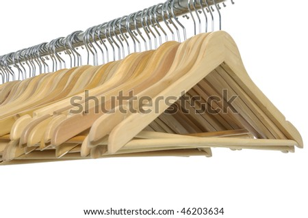 a row of empty coathangers - stock photo