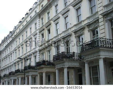A Row of Expensive Houses in Notting Hill, London, England. - stock photo