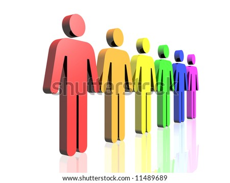 a row of gay flag colored man signs - stock photo