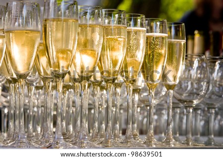 a row of glasses filled with champagne are lined up ready to be served - stock photo