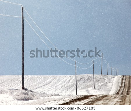 A row of ice covered power lines along a lonely country road. - stock photo