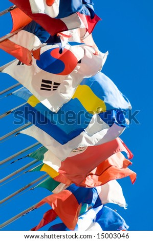 A row of international flags - stock photo