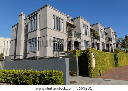 A row of modern townhouses, Parnell, Auckland, New Zealand