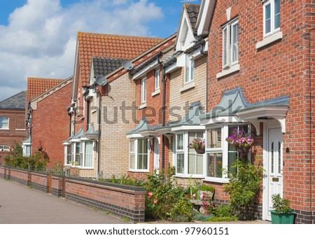 A row of modern urban houses in Beccles, England.