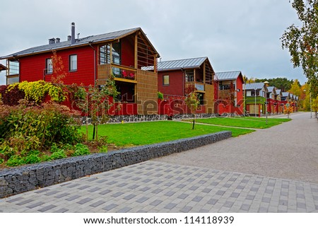 A row of newly constructed condominiums in Porvoo, Finland - stock photo
