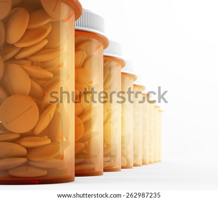 A row of orange medicine containers
