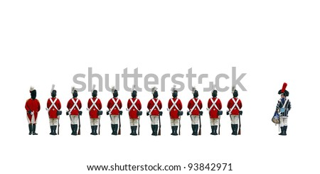 A row of redcoat soldier from the colonial English army lining up to the beat of the drummer, isolated against white. - stock photo