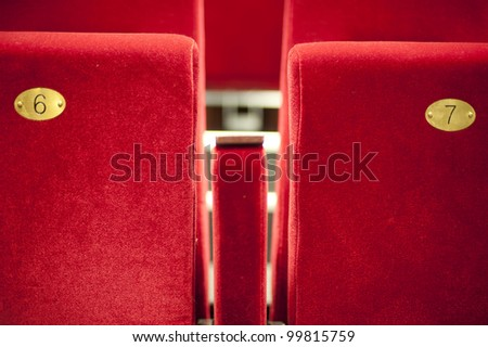 a row of seats in a theater - stock photo
