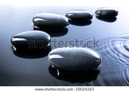 A row of shiny black pebbles in water - stock photo