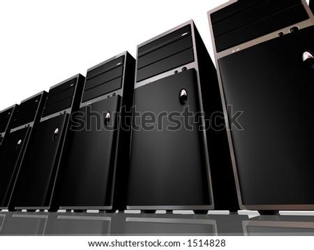 A row of sleek black servers - stock photo