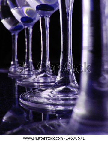 A row of wine glasses - stock photo