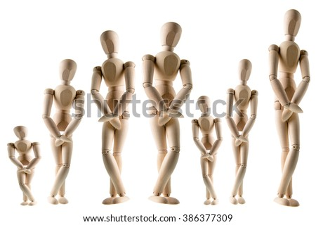 A row of wooden figures needing to use the bathroom, isolated on white