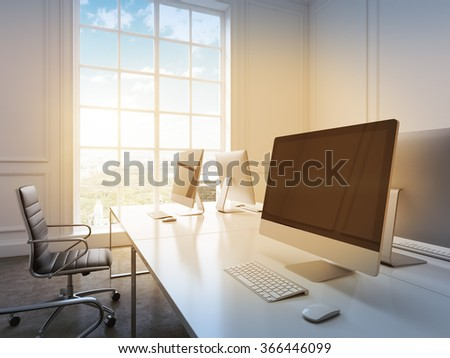 A row of working places with computers arranged so that workers face each other, black chairs along the tables. Panoramic window to the left. Concept of work. 3D rendering - stock photo