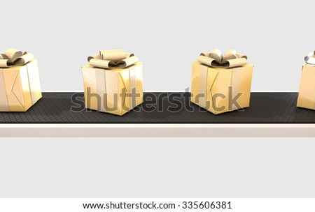 A row of wrapped gift boxes in a golden paper and ribbon on a manufacturing conveyor belt - stock photo
