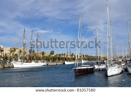 A row of yachts at Port Vell in Barcelona.
