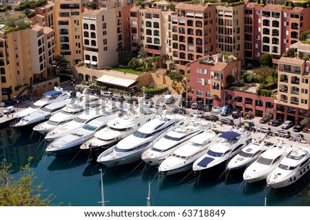 A row of yachts in Monaco, Monte Carlo - stock photo