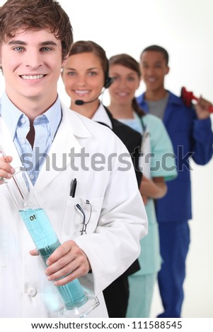 A row of young people with fulfilling careers - stock photo