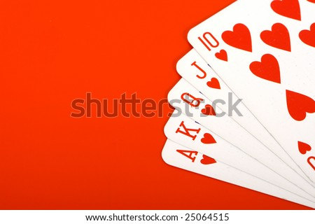 a royal flush poker hand set