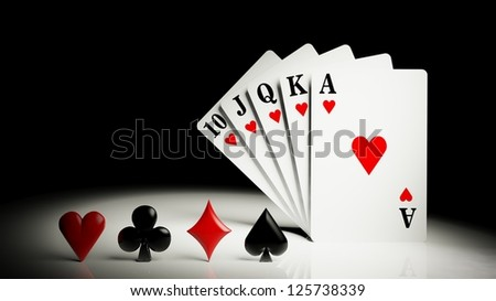 A royal straight flush playing cards poker hand - stock photo