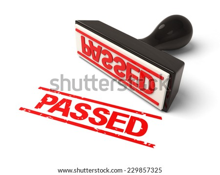A rubber stamp passed in red ink.3d image. Isolated white background.